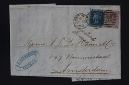 UK Cover SG 45 + 70  1863 London -> Amsterdam Engeland Franco Cursive - 1840-1901 (Viktoria)