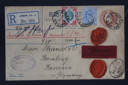 UK Uprated Inland Registered And Insured Cover London -> Bamberg Germany 1908 Double Waxsealed - Luftpost & Aerogramme