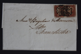 UK  Cover 1d Red Pair Plate 24 TK/TL Cancelled By Maltese Crosses London -> Manchester 1842 - 1840-1901 (Victoria)