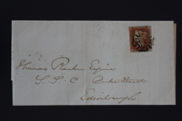 UK  Letter 1d Red Plate 24 QI  Cancelled By Maltese Cross Dunfermline To Edinburgh 1843 - 1840-1901 (Victoria)