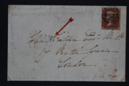 UK  1d Red  26 BH Todmoren -> London Weak Todmoreden Penny Post Halifax 4 LOndon 3 Missing In CDS''s - 1840-1901 (Victoria)