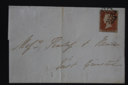 UK  1d Red  Plate 24 JH Tied By Maltese Cross Lewes -> Grinstead 1842 - 1840-1901 (Victoria)