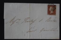 UK  1d Red  Plate 24 JH Tied By Maltese Cross Lewes -> Grinstead 1842 - 1840-1901 (Regina Victoria)