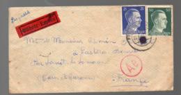 Enveloppe Express 1943 Avec Deux Timbres Hitler 25 Et 50pf  (Gemeinschaftslager ) (PPP20276) - Germania