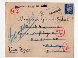Enveloppe De 1944 Pour L'Allemagne  Avec Timbre Pétain 4f   Et Avec Retour à L'envoyeur (PPP20278) - Marcophilie (Lettres)