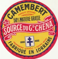 Rare Ancienne étiquette Camembert Source Du Grand Chéna Lorraine 11 Cm - Formaggio