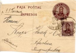 ARGENTINE. Faja Postal Impresos. 2 Centavos + Complément. A Destination D'Aachen. Par S.S. Toscana. - Enteros Postales