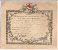 1917 / PALME VERMEIL / SOCIETE DE SECOURS AUX BLESSES MILITAIRES / INFIRMIERE HOPITAL AUXILIAIRE 36B LYON E16 - France