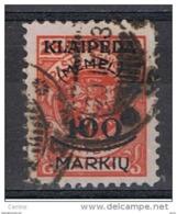 MEMEL - OCC. LITUANA:  1923  SOPRASTAMPATO  -  100 M./25 C. ROSSO  US. -  YV/TELL. 105 - Lituania