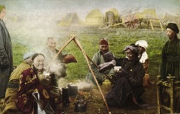Mongolia China, Group Of Native Mongolians Drinking Coffee (1946) Postcard - Mongolia