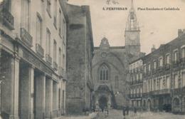 CPA - France - (66)  Pyrénées Orientales - Perpignan - Place Gambetta Et Cathédrale - Perpignan