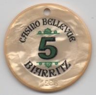 Jeton De Casino Bellevue Biarritz 5 Francs (Percé) - Casino