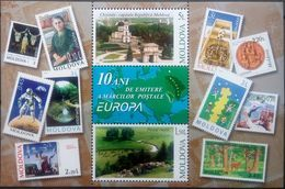 Moldova, 2003, Mi. 465-66 (bl. 29), Y&T BF 31, Sc. 446, SG 460, 10th Anniv. Of Europa Stamps, MNH - 2003