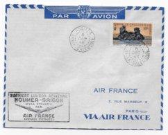 1948 - NOUVELLE CALEDONIE - ENVELOPPE PREMIERE LIAISON AERIENNE NOUMEA à SAÏGON Via SYDNEY - VOYAGE D'ETUDES AIR FRANCE - Nueva Caledonia