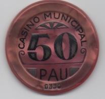 Jeton De Casino Municipal Pau 50 Anciens Francs - Casino