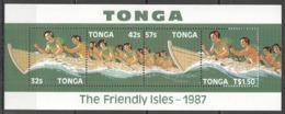 W428 1987 TONGA SHIPS & BOATS FRIENDLY ISLES MICHEL 10 EURO BL110 1BL MNH - Culturas