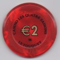 Jeton De Casino Le Touquet Les Quatre Saisons €2 (Partouche) - Casino