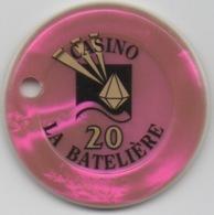 Jeton De Casino La Batelière Martinique 20 Francs (Percé) - Casino