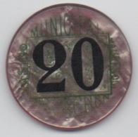 Jeton De Casino Municipal Mauresque Arcachon 20 Anciens Francs (Numéroté : 0000) ! - Casino