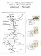 Belg. 1990 - OBP/COB 2322 + 2350 - 1ste Postverbinding Eupen 07/1/90/Innsbruck 12/1/90/Mechelen 12/1/90 (4 Scans) - Matasellos De Cortesía