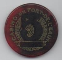 Jeton De Casino De Fort De L'Eau Algérie 5 Anciens Francs (Transparent Bordeaux) - Casino