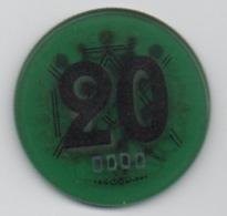 Jeton De Casino Vicomte Dinard 20 Anciens Francs (Transparent Vert) Numéroté : 0000 ! - Casino