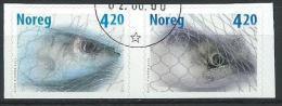 Norvège 2000 N°1307/1308 Paire Oblitérée Poissons - Oblitérés
