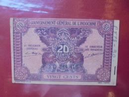 INDOCHINE 20 CENTS 1942 CIRCULER (B.7) - Indochine