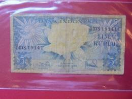 INDONESIE 5 RUPIAH 1959 CIRCULER (B.7) - Indonesien