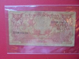 INDONESIE 10 RUPIAH 1959 CIRCULER (B.7) - Indonesien