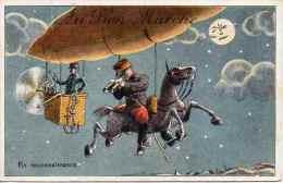 Chromo Au Bon Marché - Cpa L'aviation En L'an 2000, Mongolfière Militaire En Reconnaissance, Lune - Pubblicitari