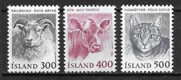 Islande 1982 N° 533/534 Neufs Animaux Mouton, Vache Et Chat - 1944-... Republik