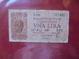 ITALIE 1 LIRA 1944 CIRCULER (B.7) - [ 1] …-1946 : Kingdom