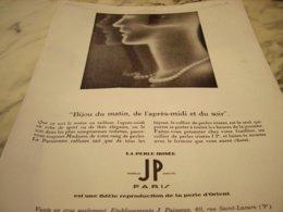 ANCIENNE PUBLICITE LA PERLE IRISEE  1929 - Juwelen & Horloges
