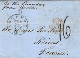 """1863- Lettre De BOSTON ( U S A ) """" By The Canada From Boston """"  Taxe Tampon 16 D Pour Reims - Marcophilie (Lettres)"""