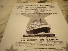 ANCIENNE PUBLICITE CROISIERE PAR LES PAQUEBOT FOUCAULD CHARGEURS REUNIS   1929 - Boats