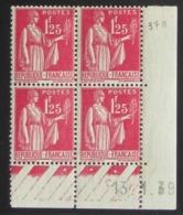 Paix 1 F. 25 Rose  En Bloc De 4 Coin Daté - Pas Cher - 1932-39 Peace
