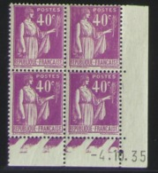 Paix 40 C. Violet  En Bloc De 4 Coin Daté - Pas Cher - 1932-39 Frieden
