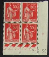Paix 50 C. Rouge  En Bloc De 4 Coin Daté - Pas Cher - 1932-39 Frieden