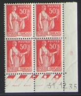 Paix 50 C. Rouge  En Bloc De 4 Coin Daté - Pas Cher - 1932-39 Peace