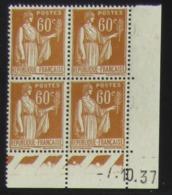 Paix 60 C. Brun En Bloc De 4 Coin Daté - Pas Cher - 1932-39 Frieden