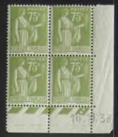 Paix 75 C. Vert  En Bloc De 4 Coin Daté - Pas Cher - 1932-39 Peace