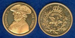 Medaille Friedrich Der Große 30mm Vergoldet - [ 7] 1949-…: BRD