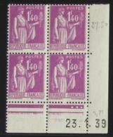 Paix 1 F. 40 Violet  En Bloc De 4 Coin Daté RARE - Pas Cher - 1932-39 Peace