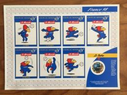 BLOC SOUVENIR FRANCE 98 - Timbre Rond Coupe Du Monde De Football + 5 Vignettes Autocollantes Footix - 1998 - Neuf ** - Blocs & Feuillets