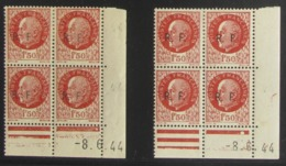 Pétain Surchargé R F En Blocs De 4 Coin Daté - Pas Cher RARE ? - 1932-39 Paix