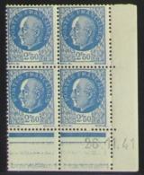 Pétain  En Blocs De 4 Coin Daté - Pas Cher - 1932-39 Peace