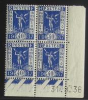 Exposition Internationale En Blocs De 4 Coin Daté - Pas Cher - 1932-39 Peace