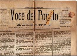 "CACHET ROUGE ""PERIODICI FRANCHI 1 CT "" SUR JOURNAL ""VOCE DEL POPOLO""  ITALIE 17 03 1874  2 PHOTOS - 1861-78 Victor Emmanuel II."