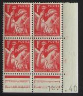 IRIS  En Bloc De 4 Coin Daté - Pas Cher - 1932-39 Peace